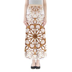 Golden Filigree Flake On White Maxi Skirts