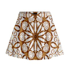 Golden Filigree Flake On White Mini Flare Skirt