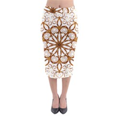 Golden Filigree Flake On White Midi Pencil Skirt