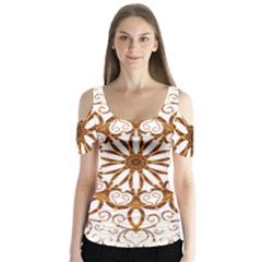 Golden Filigree Flake On White Butterfly Sleeve Cutout Tee