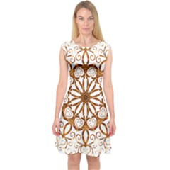 Golden Filigree Flake On White Capsleeve Midi Dress