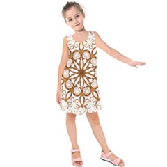 Golden Filigree Flake On White Kids  Sleeveless Dress