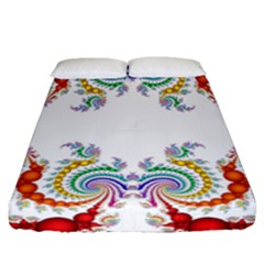 Fractal Kaleidoscope Of A Dragon Head Fitted Sheet (queen Size)