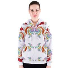 Fractal Kaleidoscope Of A Dragon Head Women s Zipper Hoodie