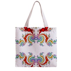 Fractal Kaleidoscope Of A Dragon Head Zipper Grocery Tote Bag