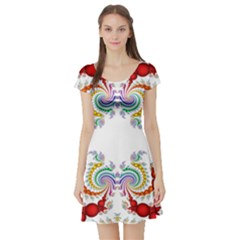 Fractal Kaleidoscope Of A Dragon Head Short Sleeve Skater Dress