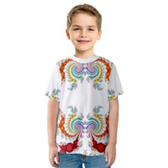 Fractal Kaleidoscope Of A Dragon Head Kids  Sport Mesh Tee
