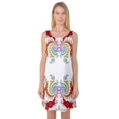 Fractal Kaleidoscope Of A Dragon Head Sleeveless Satin Nightdress