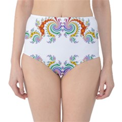 Fractal Kaleidoscope Of A Dragon Head High-Waist Bikini Bottoms