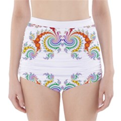 Fractal Kaleidoscope Of A Dragon Head High Waisted Bikini Bottoms