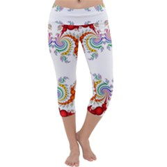 Fractal Kaleidoscope Of A Dragon Head Capri Yoga Leggings