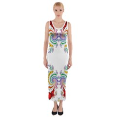 Fractal Kaleidoscope Of A Dragon Head Fitted Maxi Dress