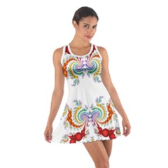 Fractal Kaleidoscope Of A Dragon Head Cotton Racerback Dress