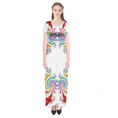 Fractal Kaleidoscope Of A Dragon Head Short Sleeve Maxi Dress