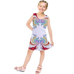 Fractal Kaleidoscope Of A Dragon Head Kids  Tunic Dress