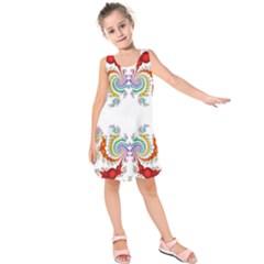 Fractal Kaleidoscope Of A Dragon Head Kids  Sleeveless Dress