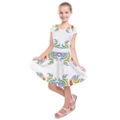 Fractal Kaleidoscope Of A Dragon Head Kids  Short Sleeve Dress