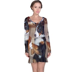 Bernese Mountain Dog Begging Long Sleeve Nightdress