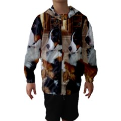 Bernese Mountain Dog Begging Hooded Wind Breaker (Kids)