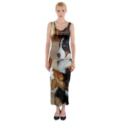 Bernese Mountain Dog Begging Fitted Maxi Dress