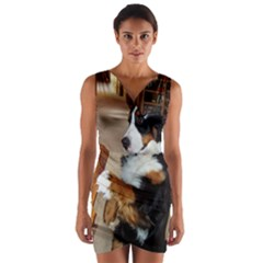 Bernese Mountain Dog Begging Wrap Front Bodycon Dress