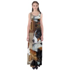 Bernese Mountain Dog Begging Empire Waist Maxi Dress