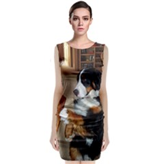 Bernese Mountain Dog Begging Classic Sleeveless Midi Dress