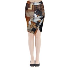 Bernese Mountain Dog Begging Midi Wrap Pencil Skirt