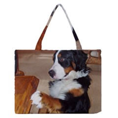 Bernese Mountain Dog Begging Medium Zipper Tote Bag