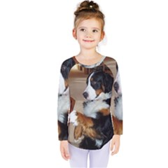 Bernese Mountain Dog Begging Kids  Long Sleeve Tee
