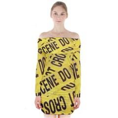 Crime scene Long Sleeve Off Shoulder Dress