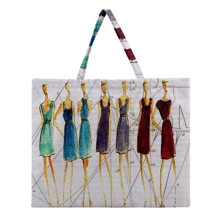 Fashion sketch  Zipper Large Tote Bag