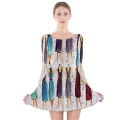 Fashion sketch  Long Sleeve Velvet Skater Dress