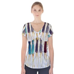Fashion sketch  Short Sleeve Front Detail Top