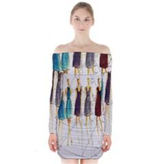 Fashion sketch  Long Sleeve Off Shoulder Dress