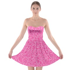 Pink pattern Strapless Bra Top Dress