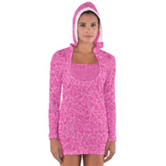 Pink pattern Women s Long Sleeve Hooded T-shirt