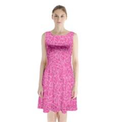 Pink pattern Sleeveless Chiffon Waist Tie Dress
