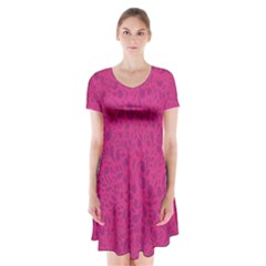 Pink pattern Short Sleeve V-neck Flare Dress