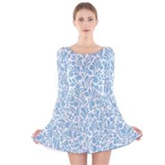 Blue pattern Long Sleeve Velvet Skater Dress