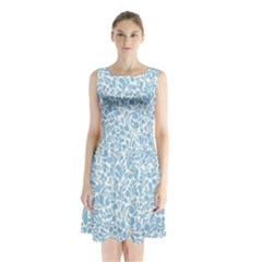 Blue pattern Sleeveless Chiffon Waist Tie Dress