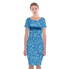 Blue pattern Classic Short Sleeve Midi Dress