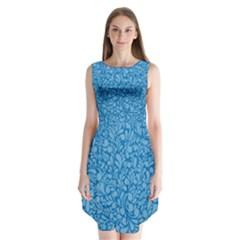 Blue pattern Sleeveless Chiffon Dress