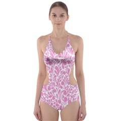 Pink pattern Cut-Out One Piece Swimsuit