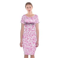 Pink pattern Classic Short Sleeve Midi Dress