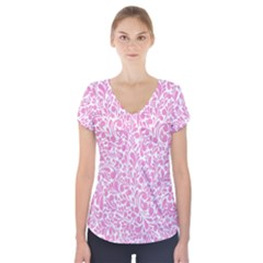 Pink pattern Short Sleeve Front Detail Top