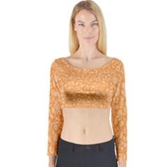 Orange pattern Long Sleeve Crop Top