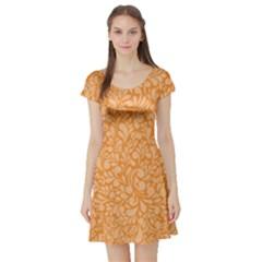 Orange pattern Short Sleeve Skater Dress