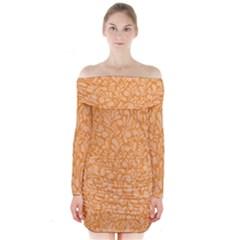 Orange pattern Long Sleeve Off Shoulder Dress