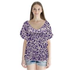 Purple pattern Flutter Sleeve Top